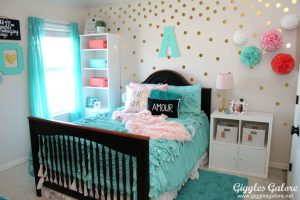 Tween girls coral and aqua bedroom makeover