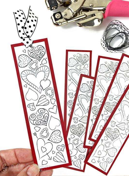 Print and Color Valentine Heart Bookmarks, 30+ Kids Valentine Printables via Giggles Galore
