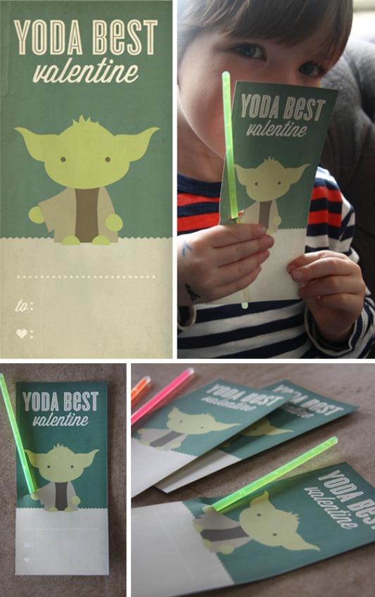 Yoda Valentines, 30+ Kids Valentine Printables via Giggles Galore