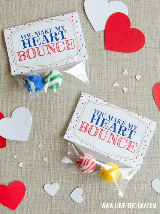 You Make My Heart Bounce, 30+ Kids Valentine Printables via Giggles Galore