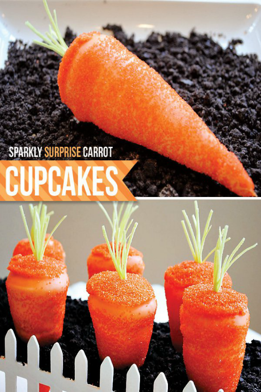 Half Baked via HWTM Sparkly Surprise Carrot Cupcakes, 25 Carrot Themed Recipes and Crafts for Easter