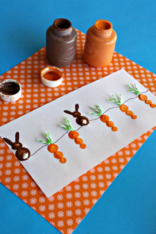 Crafty Morning Carrot Bunny Fingerprints, 25 Carrot Themed Recipes and Crafts for Easter