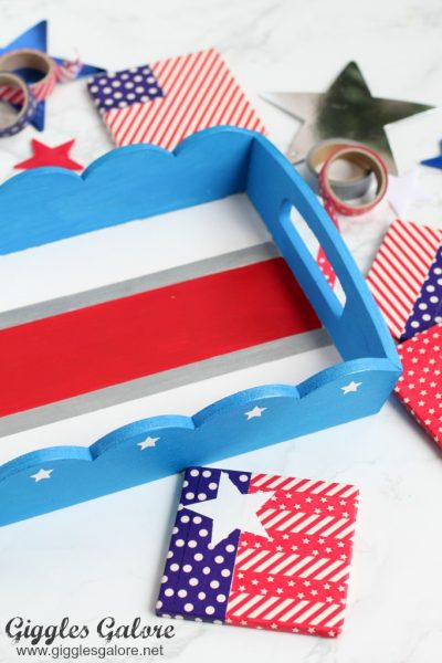 Patriotic serving tray and coasters