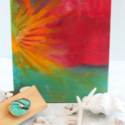 Abstract Tropical Sunset Painting