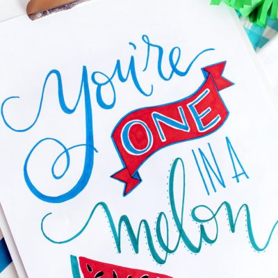 Hand Lettered You're One in a Melon Art Print