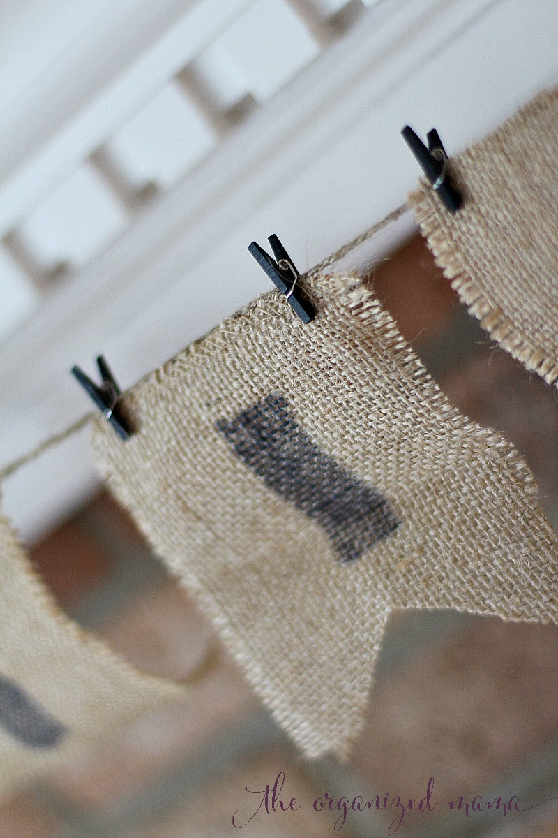No-Sew Burlap Banner Attaching To Twine