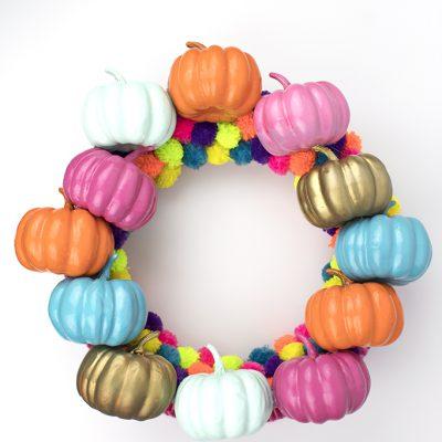 Colorful Fall Pumpkin Wreath