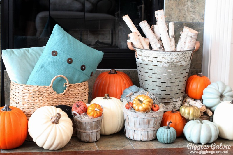 Rustic farmhouse baskets fall mantel