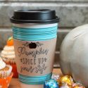 Fall leather coffee cup sleeve