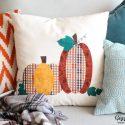 Fall patchwork pumpkin pillow