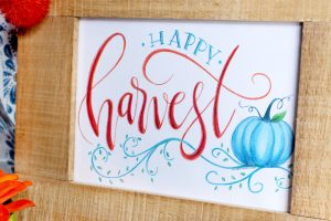 FREE Hand Lettered Happy Harvest Art Print