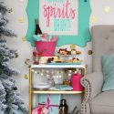 Colorful making spirits bright holiday bar cart