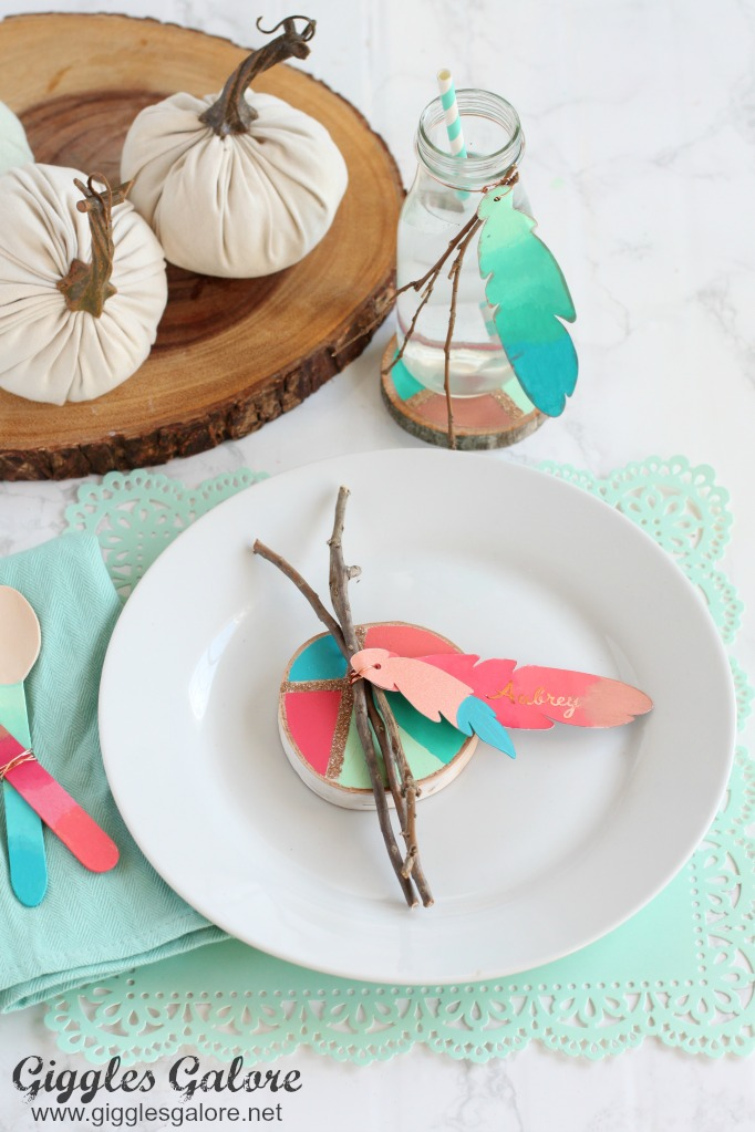 Colorful Painted Feather Thanksgiving Place Cards Giggles Galore