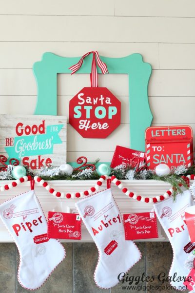 Whimsical north pole mantle decorations with cricut