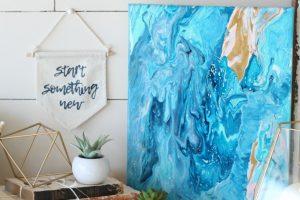 Fluid Acrylic Poured Canvas Art