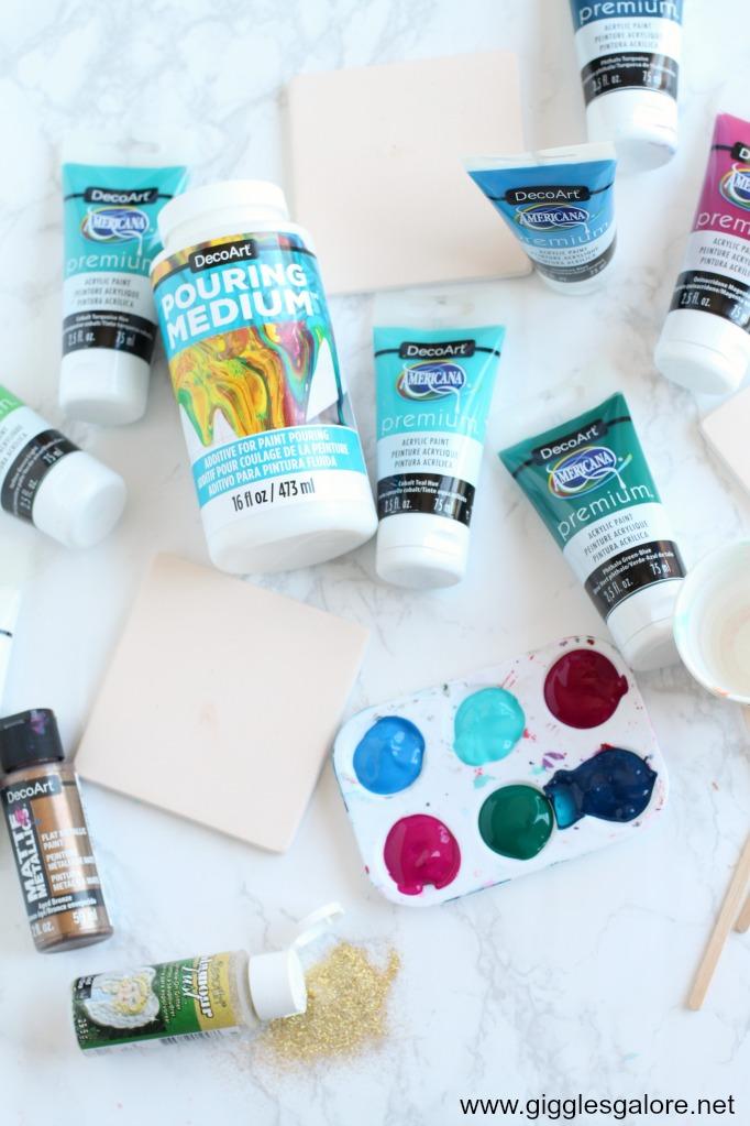 DIY Paint Pour Ceramic Coasters Supplies