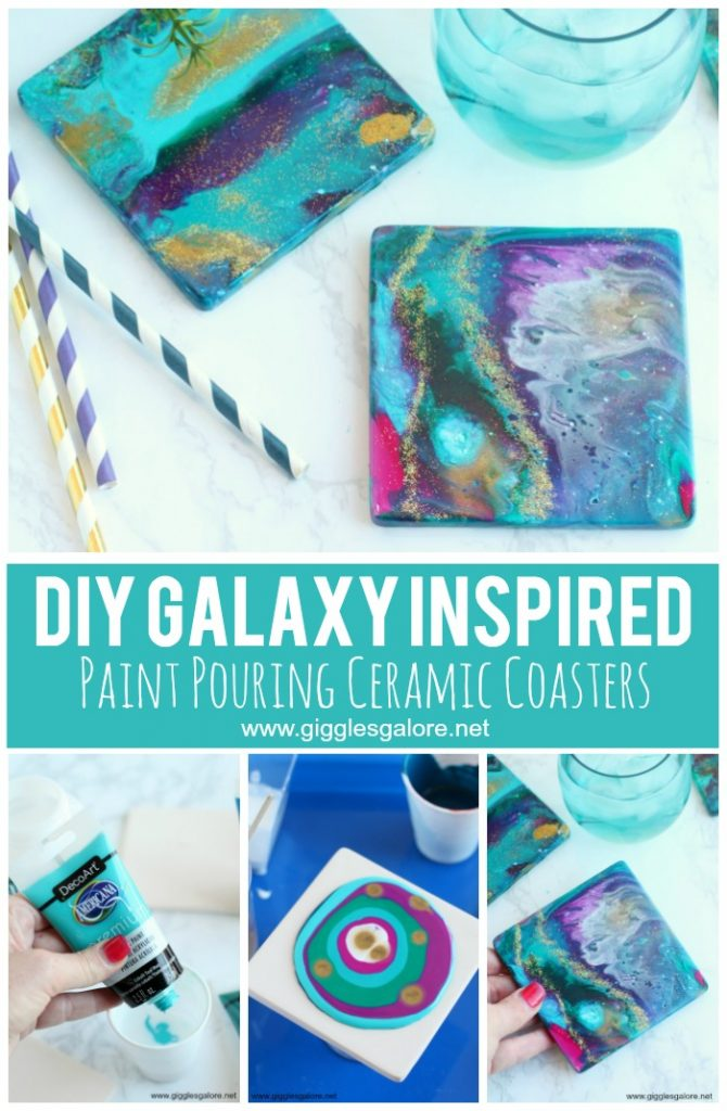 DIY Galaxy Inspired Paint Pouring Ceramic Coasters