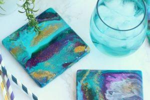DIY Acrylic Pour Ceramic Coasters