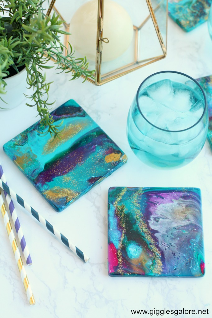 Diy Ceramic Coasters With Acrylic Pour Paint