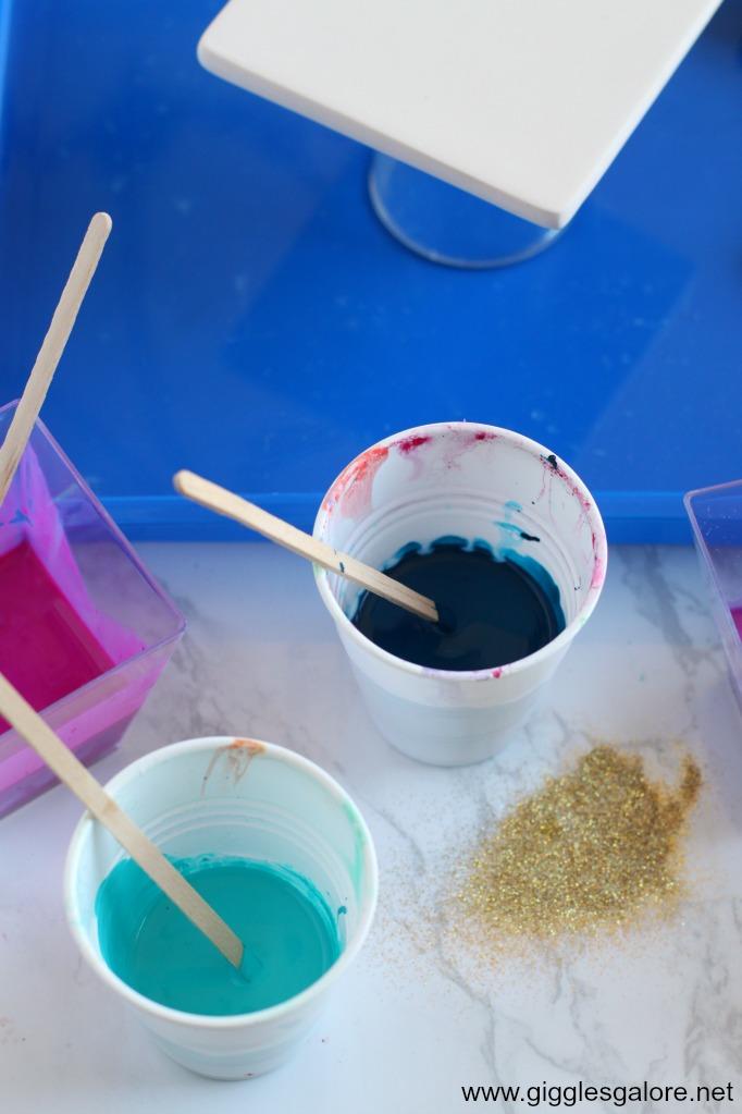 DIY Paint Pour Ceramic Coasters Mixed Paint