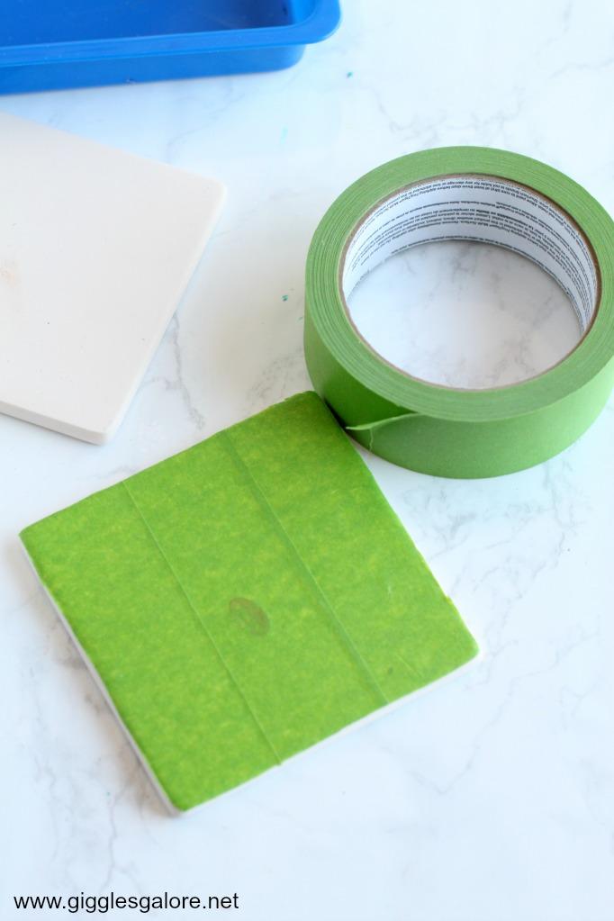 DIY Paint Pour Ceramic Coasters Step 1