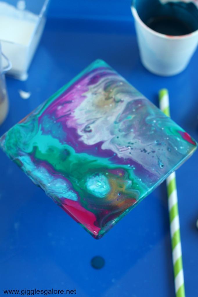 DIY Paint Pour Ceramic Coasters Step 8