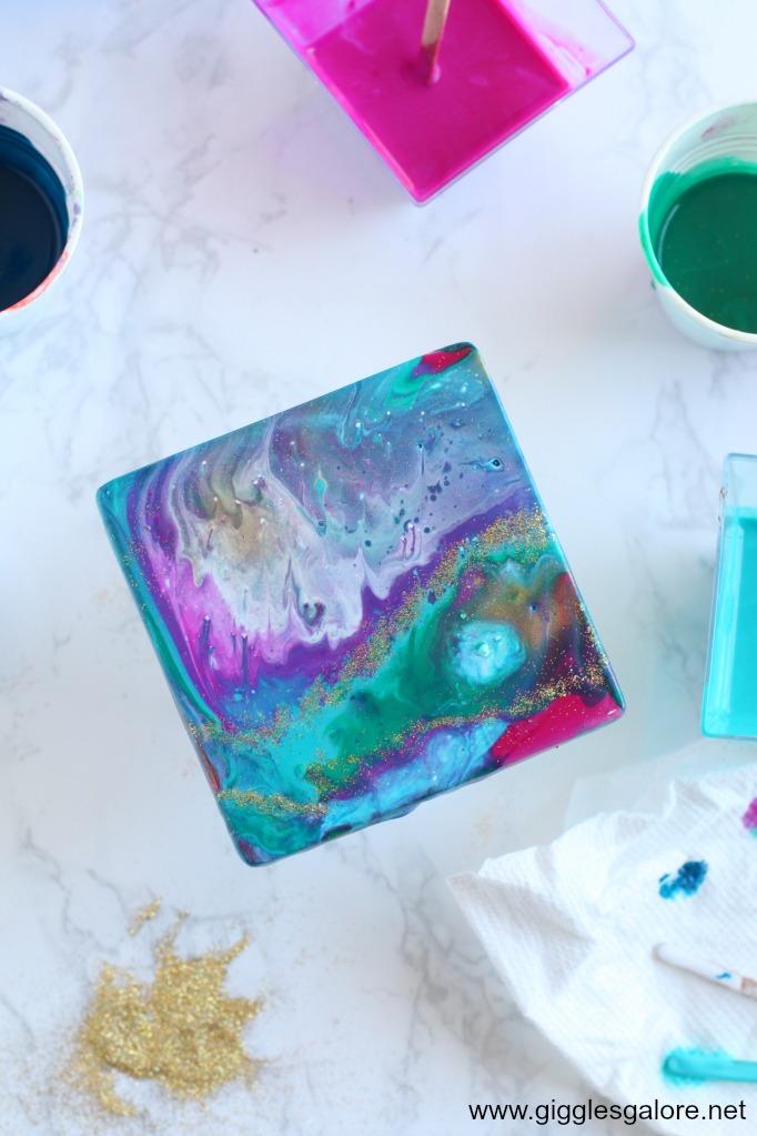 DIY Paint Pour Ceramic Coasters Step 9