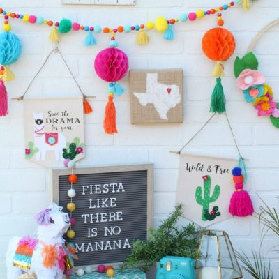 Colorful Fiesta Llama and Cactus Banners made with Cricut Maker