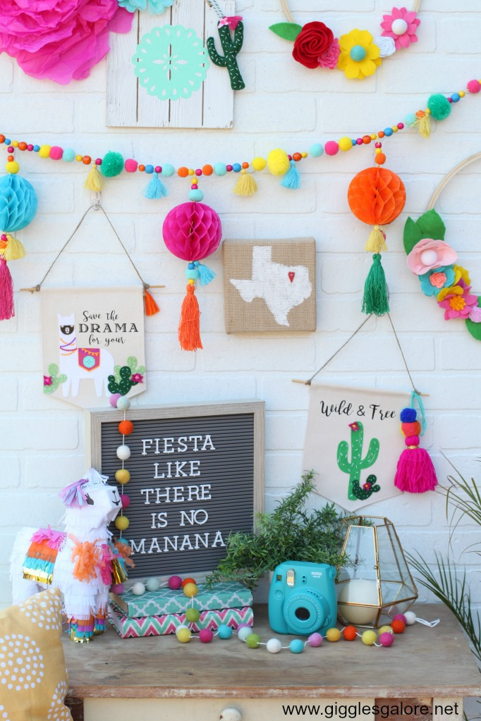 Colorful Fiesta Llama And Cactus Banners Made With Cricut
