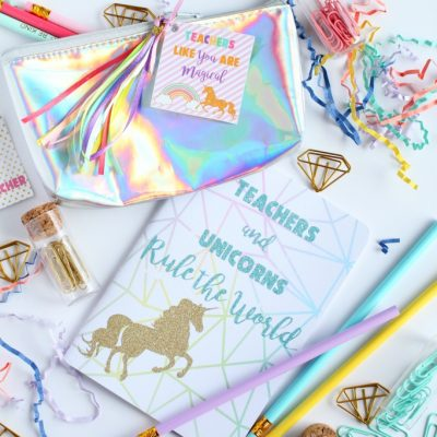Rainbow and unicorns teacher appreciation gift