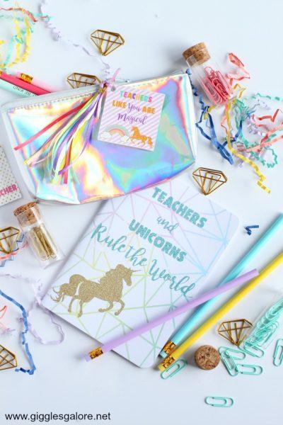 Rainbow and unicorns teacher appreciation gift
