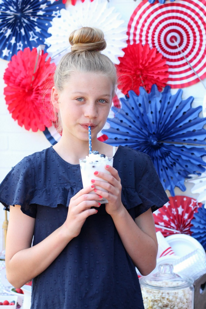 Sipping patriotic italian soda a