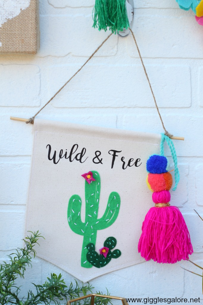 Wild and Free Cactus Canvas Hanging Banner