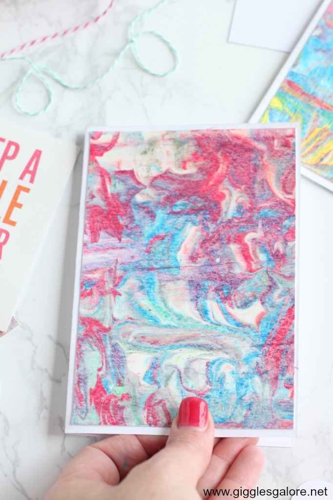 Diy mothers day marbled paper cards step 4