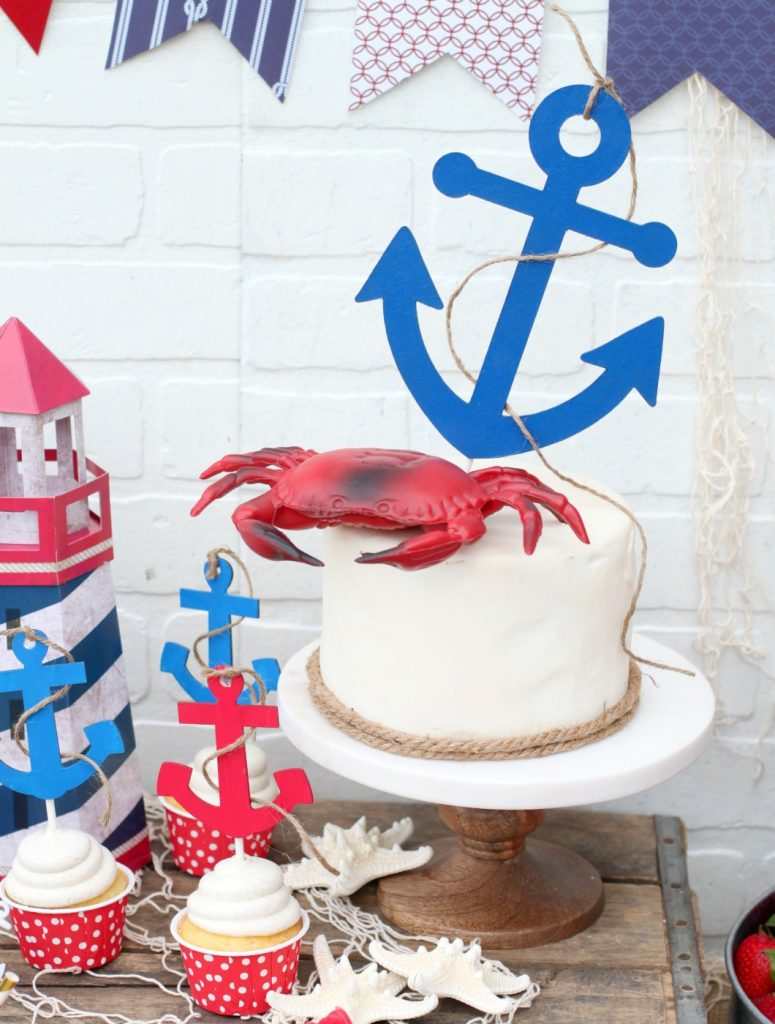 Nautical Anchor Chipboard Cake Topper with Cricut Knife Blade