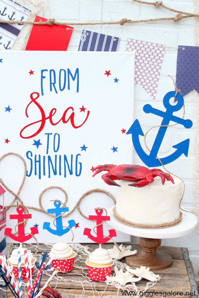 Nautical Chipboard Cake Topper with Cricut Knife Blade
