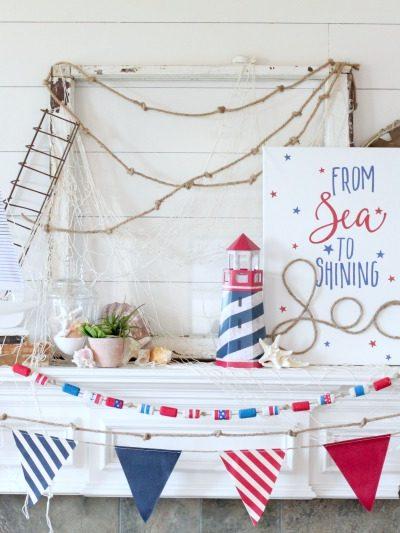 4th of july nautical mantel