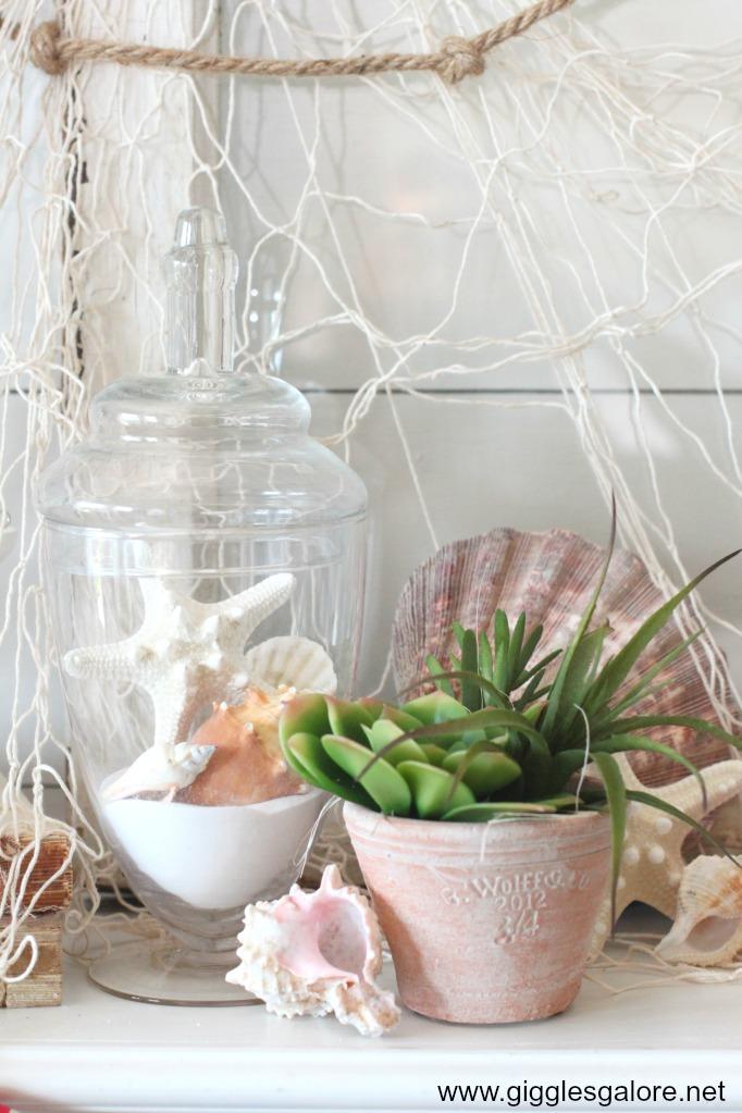 Nautical seashell mantel decorations