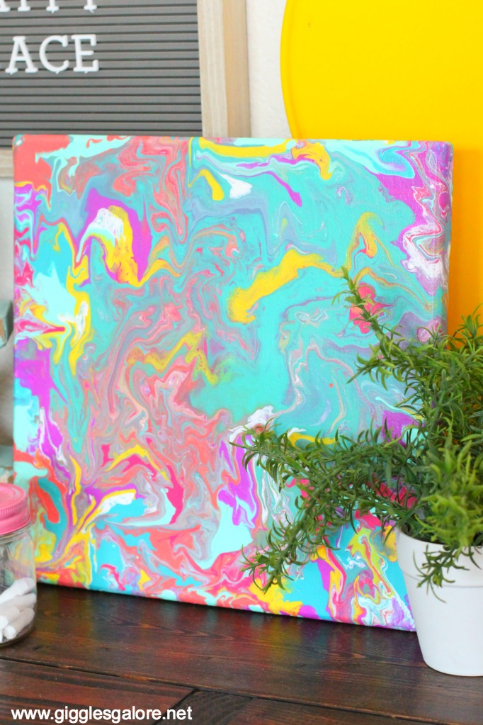 Paint pouring summer canvas
