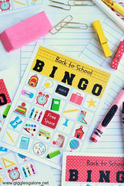 Back to school bingo card
