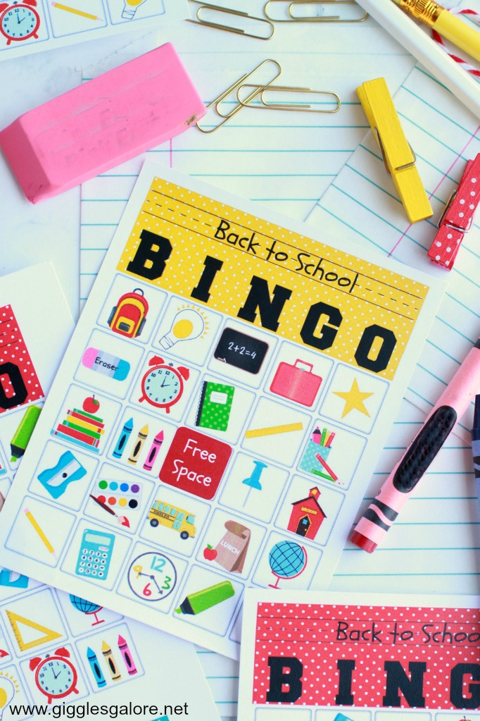 Fun Back to School Bingo Game