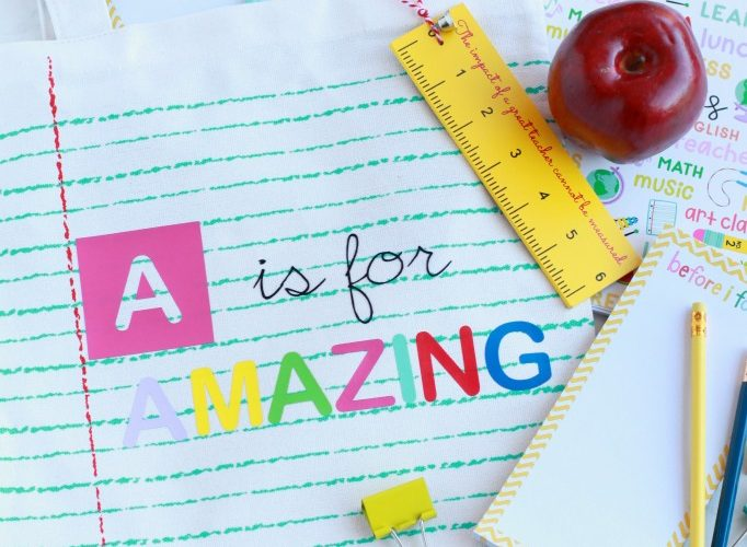 Diy a is for amazing teacher tote bag