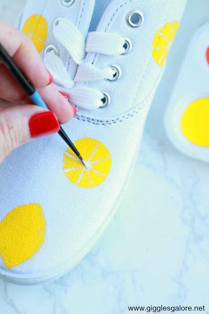 Diy citrus painted canvas shoes step 3