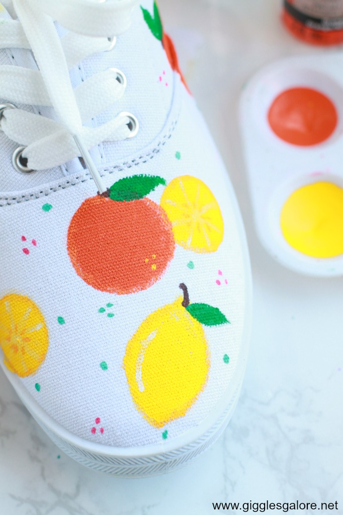 Diy citrus painted canvas shoes step 7