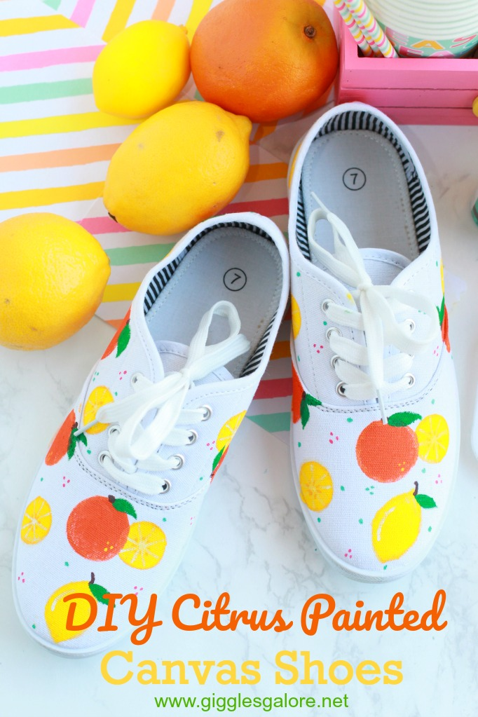 Diy citrus painted canvas shoes giggles galore