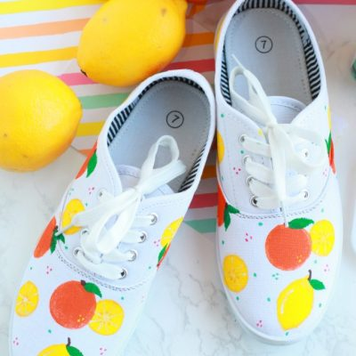 DIY Citrus Painted Canvas Shoes