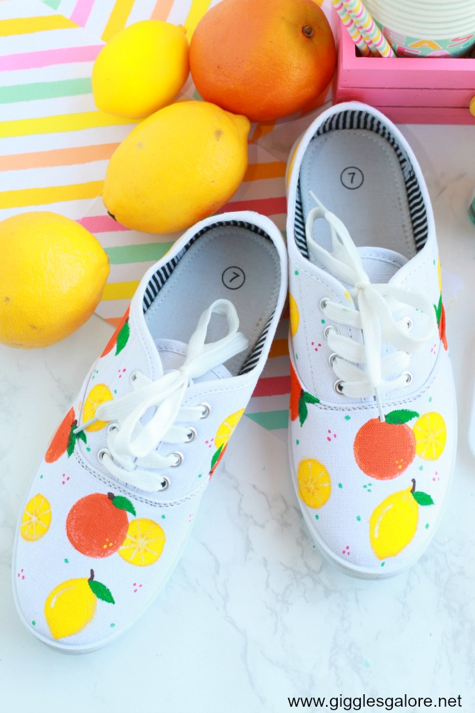 Diy citrus painted shoes step 6