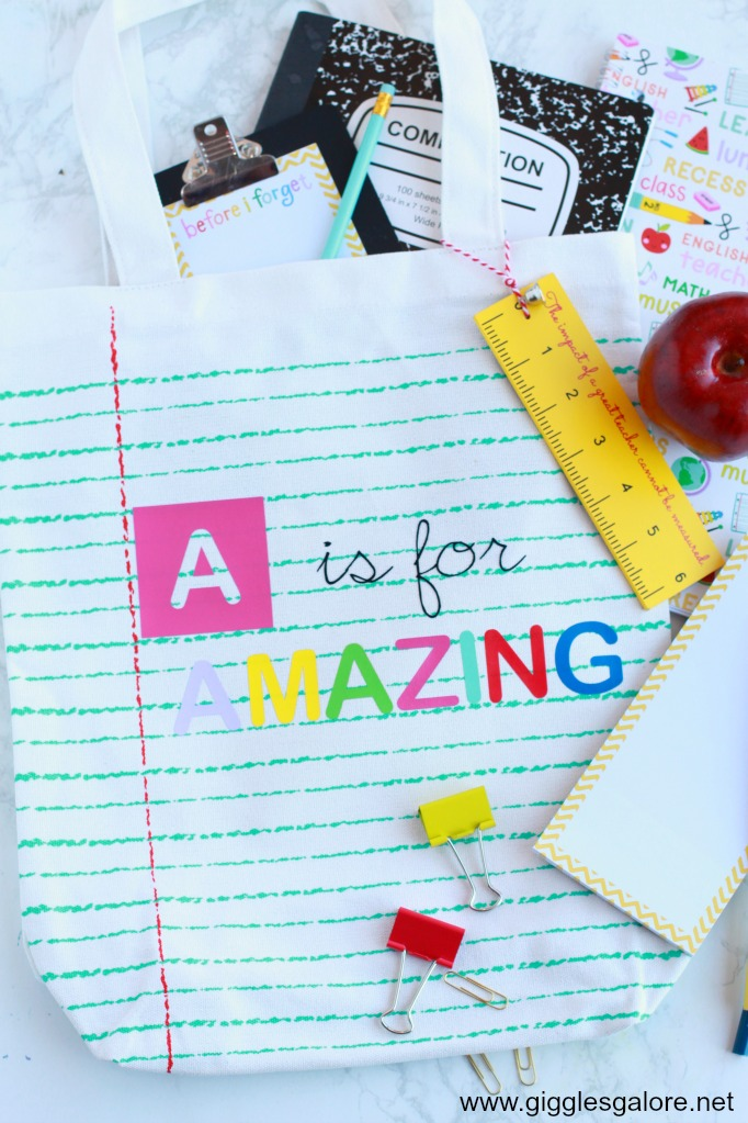 DIY Back to School Notebook Paper Canvas Tote Bag