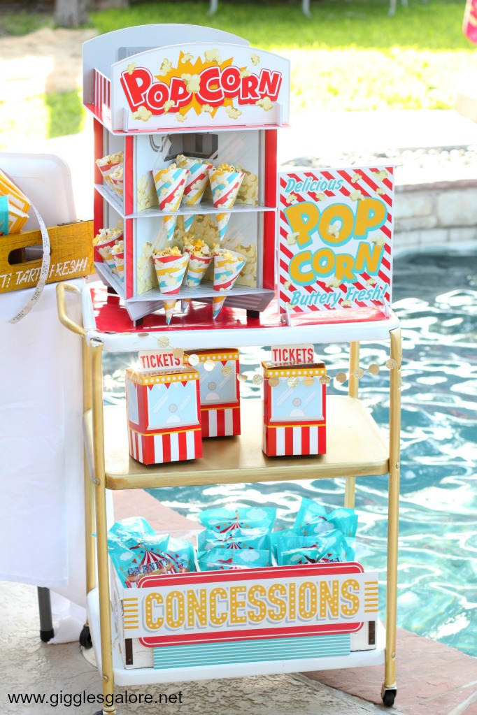 Summer Dive-In Movie Popcorn Bar Cart
