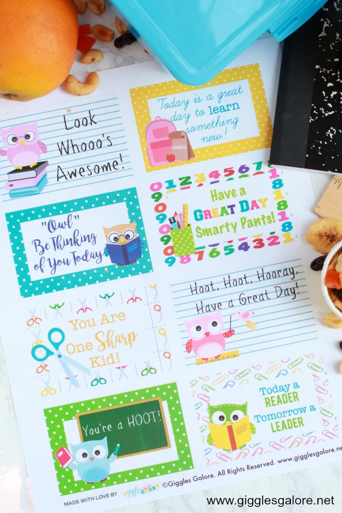 Owl Back to School Lunchbox Notes